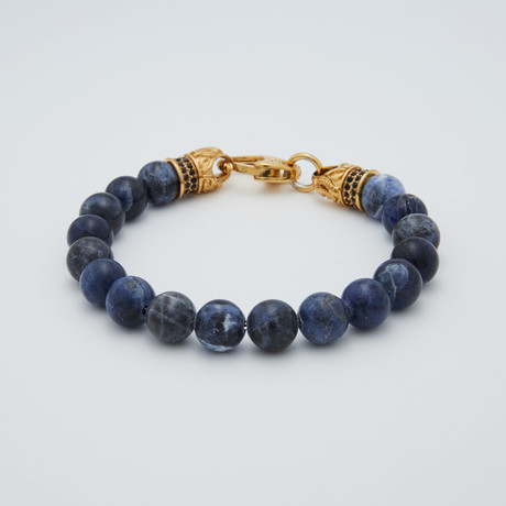 Sodalite Lobster Clasp Bracelet // Blue + Gold