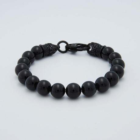Onyx Bead Crystal Clasp Beaded Bracelet // Black