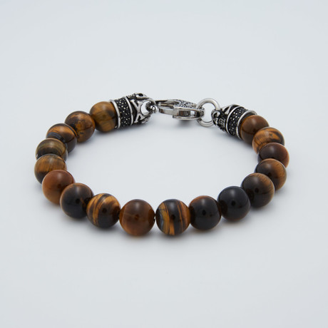 Tiger's Eye Lobster Clasp Bracelet // Brown + Steel