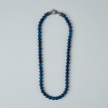 Onyx Bead Lobster Clasp Necklace // Blue