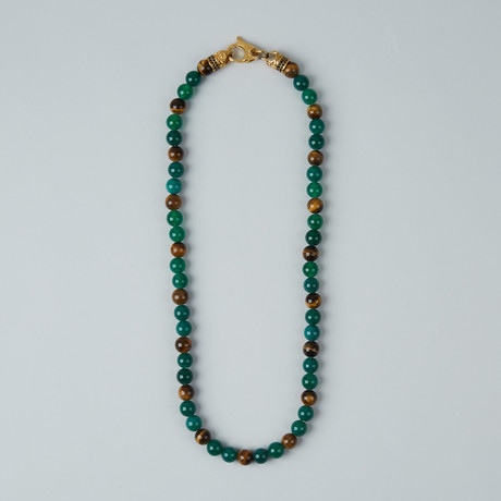 Tiger Eye + Agate Lobster Clasp Necklace // Green + Brown + Gold