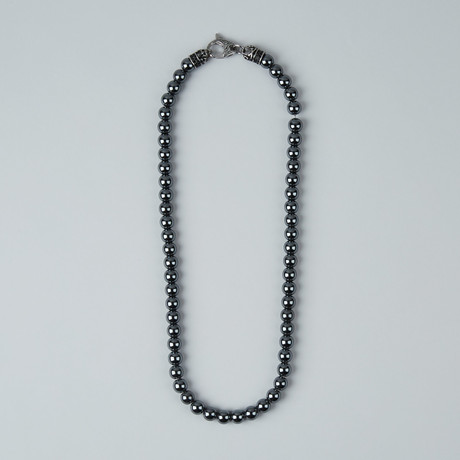 Hematite Bead Lobster Clasp Necklace // Gray + Steel