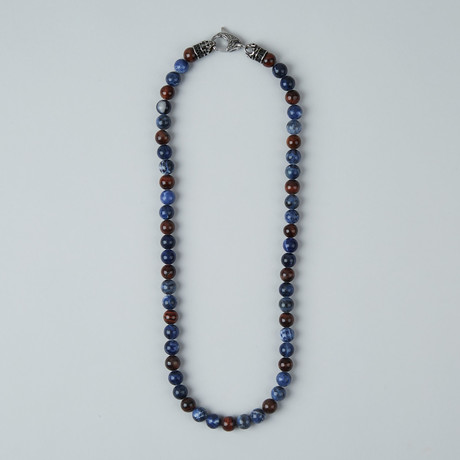 Sodalite + Tiger Eye Lobster Clasp Necklace // Red