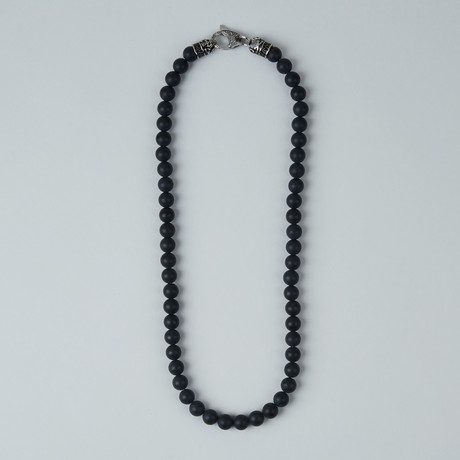 Onyx Bead Lobster Clasp Necklace // Black