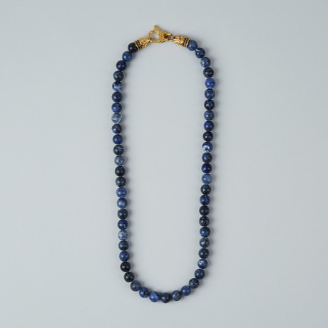 Sodalite Lobster Clasp Necklace // Blue + Gold