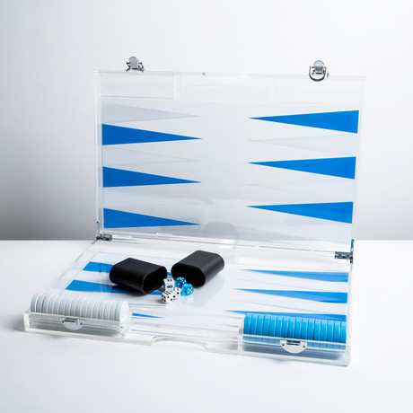 Lucite Backgammon // Blue + White