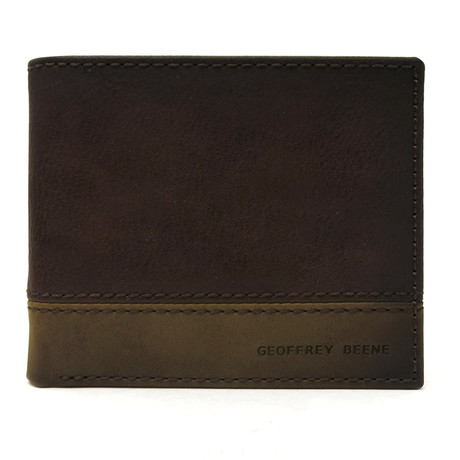 Colorblock Bifold Wallet With RFID Blocking // Brown + Olive