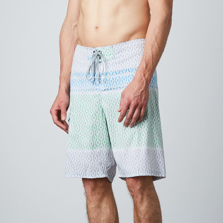 Diamond Head Boardshort // Green + Blue + Gray