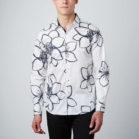 Lotus Doodles Button-Up Shirt // White