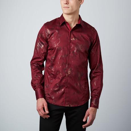 Metallic Branches Button-Up Shirt  // Burgundy