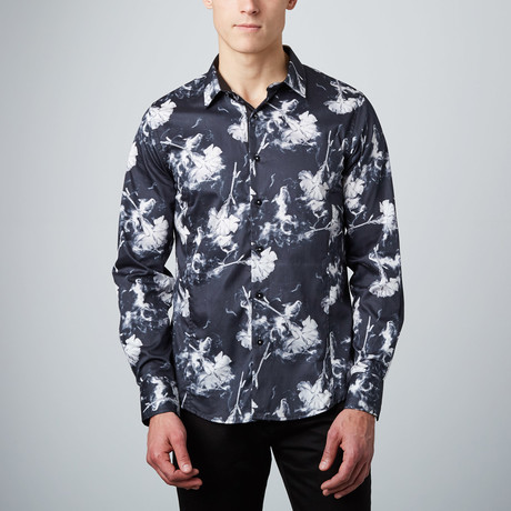 Ghost Carnation Button-Up Shirt // Black