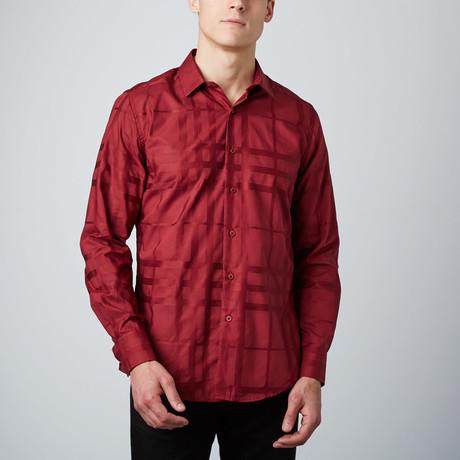 Satin Plaid Button-Up Shirt // Red