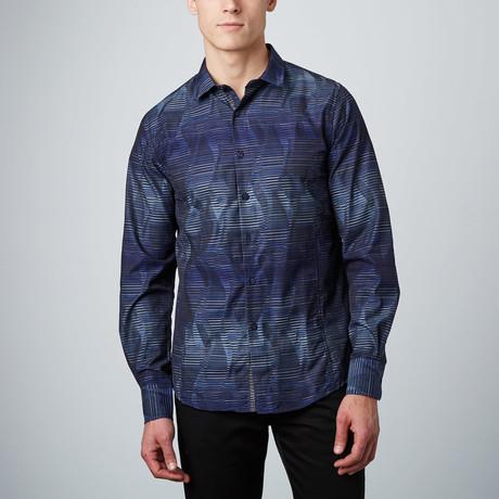 Stripe Illusion Button-Up Shirt // Blue