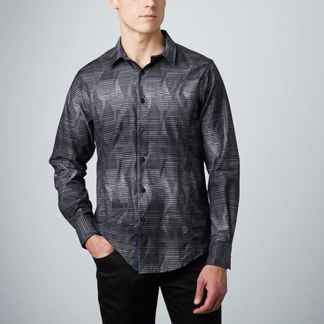 Stripe Illusion Button-Up Shirt // Black