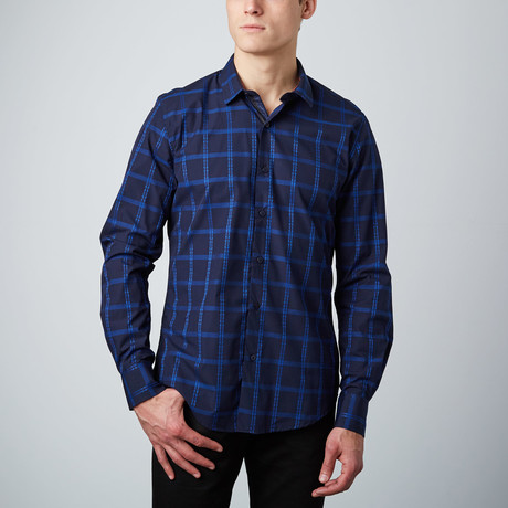 Stitched Windowpane Button-Up Shirt // Blue