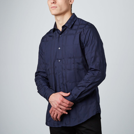 Monotone Plaid Button-Up Shirt // Blue