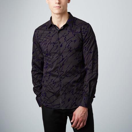 Velvet Overlay Button-Up Shirt // Black