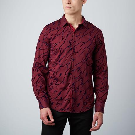 Velvet Overlay Button-Up Shirt // Burgundy