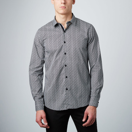 Speckled Button-Up Shirt // White + Black
