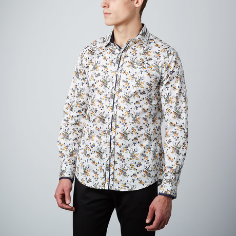 Corsage Button-Up Shirt // White