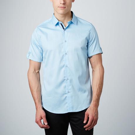 Microdot Short-Sleeve Button-Up // Light Blue