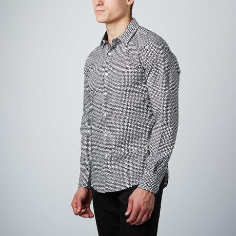 Gothic Windowpane Button-Up Shirt // White + Black