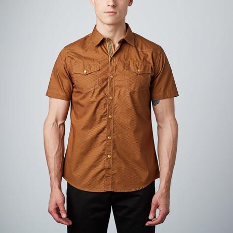 Polkadot Western Short-Sleeve Button-Up Shirt // Brown
