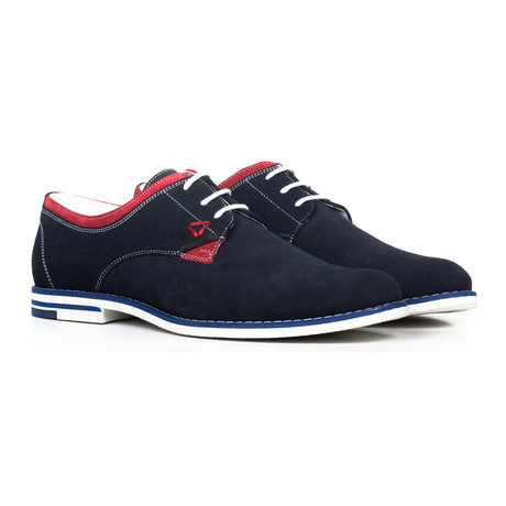 Colorblocked Lace-Up Derby // Navy + Blue + Red