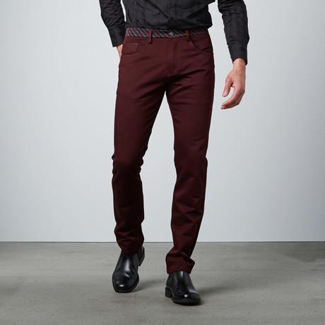 Striped Waistband Pant // Burgundy