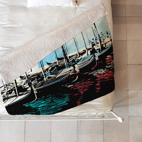 Venice Gondolas // Fleece Throw Blanket