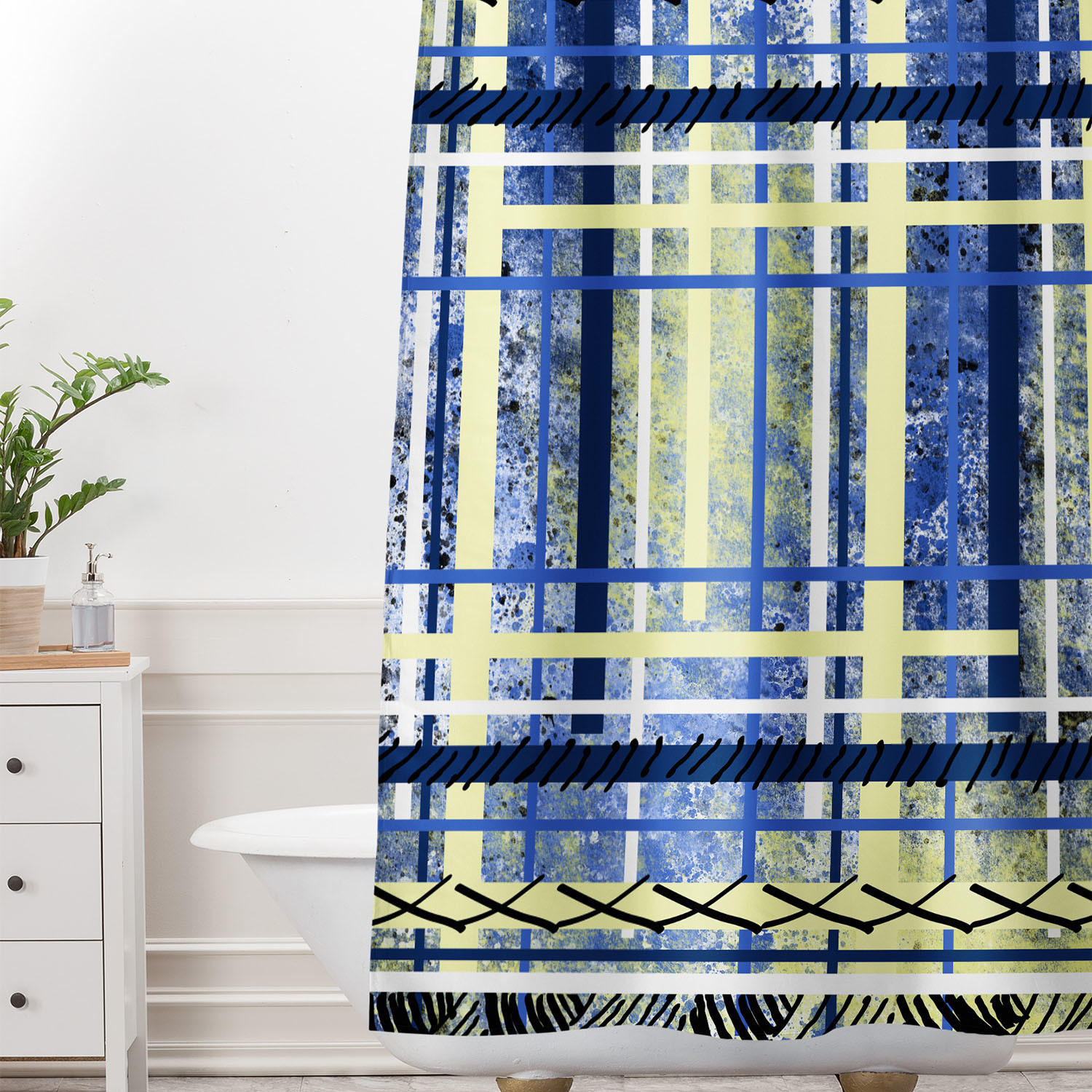 Blue And Yellow Obsession Shower Curtain
