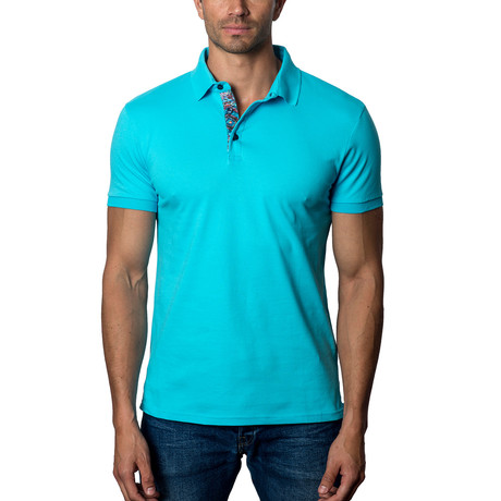 Short-Sleeve Polo // Aqua (S)