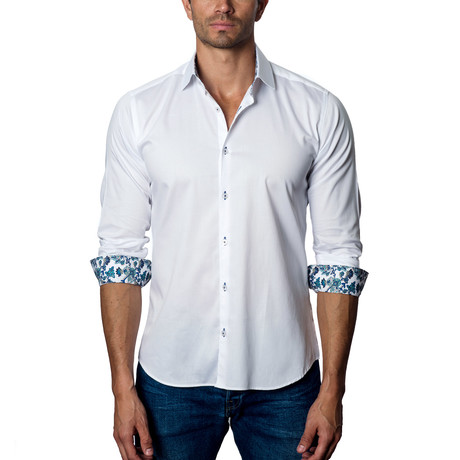 Solid Woven Button-Up // White