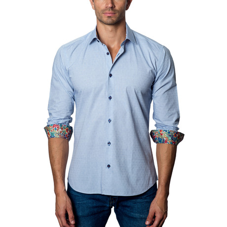 Woven Button-Up // Grey + Blue