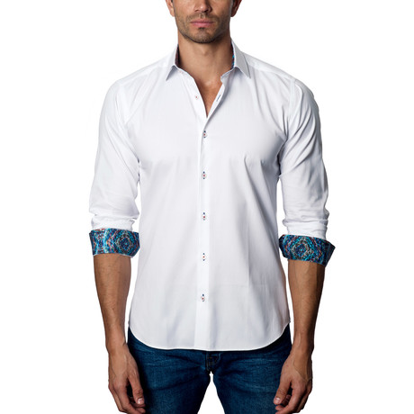 Classic Woven Button-Up // White