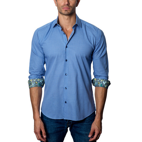 Woven Button-Up // Blue + White