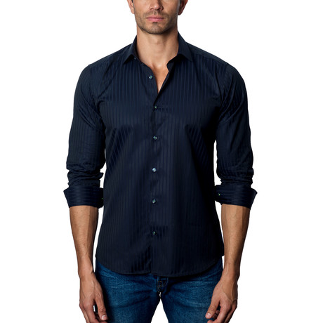 Striped Woven Button-Up // Dark Navy