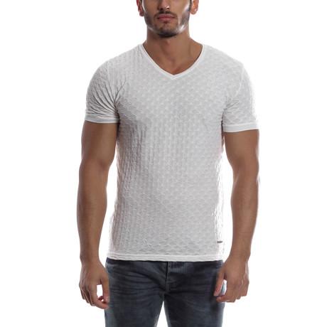 Textured V-Neck Shirt // White