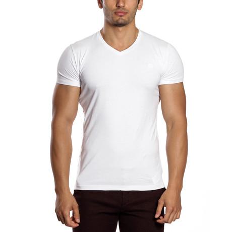 Solid V-Neck Shirt // White