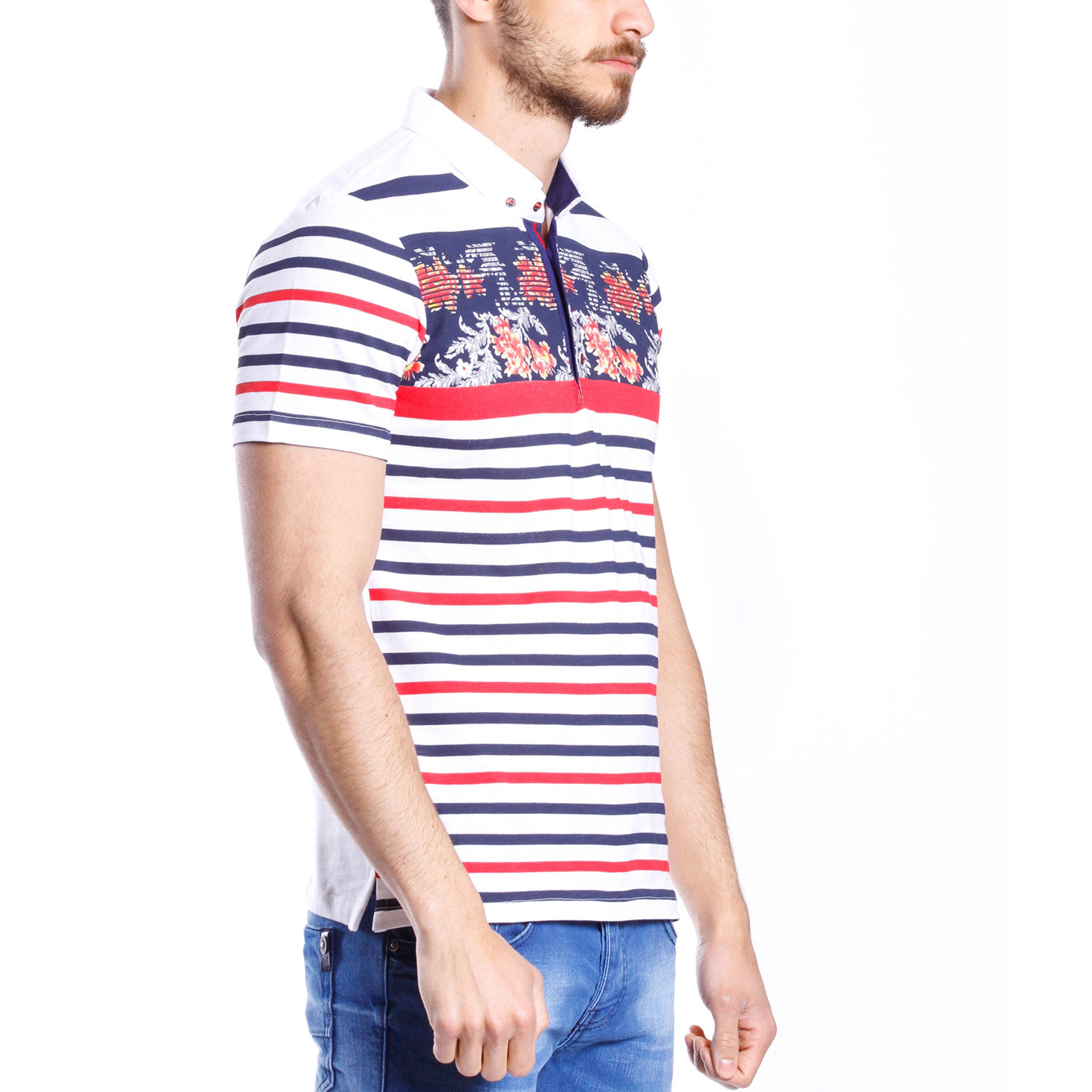 Floral striped polo shirt white red blue 2xl for Red white striped polo shirt