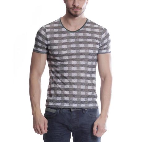 Cross-Stripe T-Shirt // Khaki