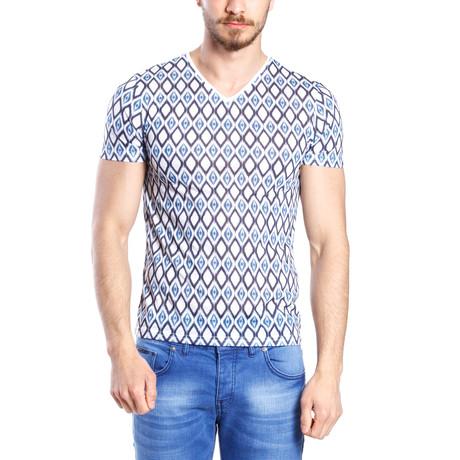 Large Diamond Print T-Shirt // Blue