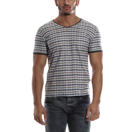 Bold Striped V-Neck Shirt // Blue + Khaki