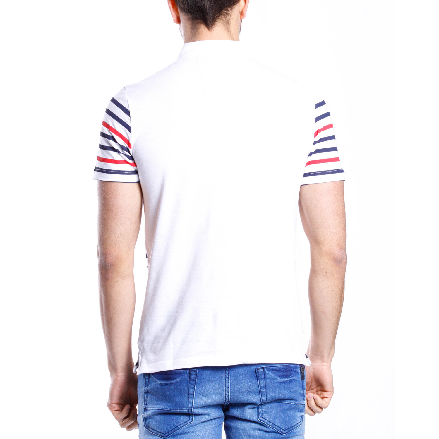 Floral striped polo shirt white red blue s moda for Red blue striped shirt