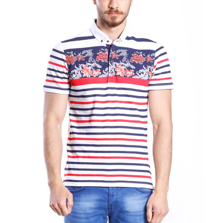 Floral Striped Polo Shirt // White + Red + Blue