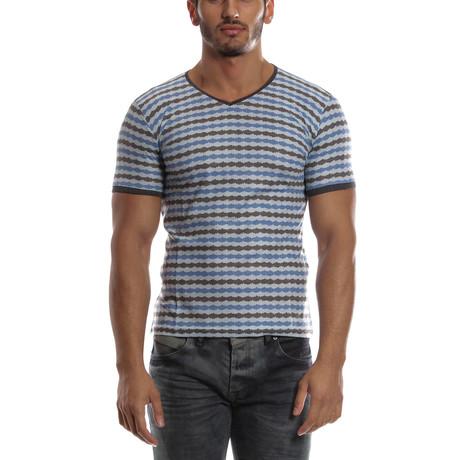 Bold Striped V-Neck Shirt // Blue + Sax