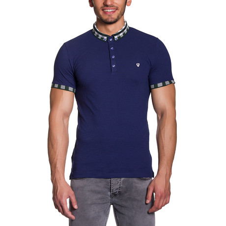 Plaid Collar Polo Shirt // Navy