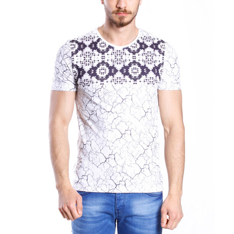 Multi Printed T-Shirt // White + Navy