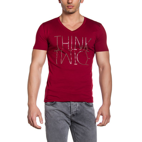 Think Twice Graphic T-Shirt // Burgundy