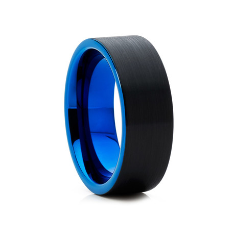 8mm Pipe Cut Brushed Tungsten Ring // Blue + Black (Size 8)